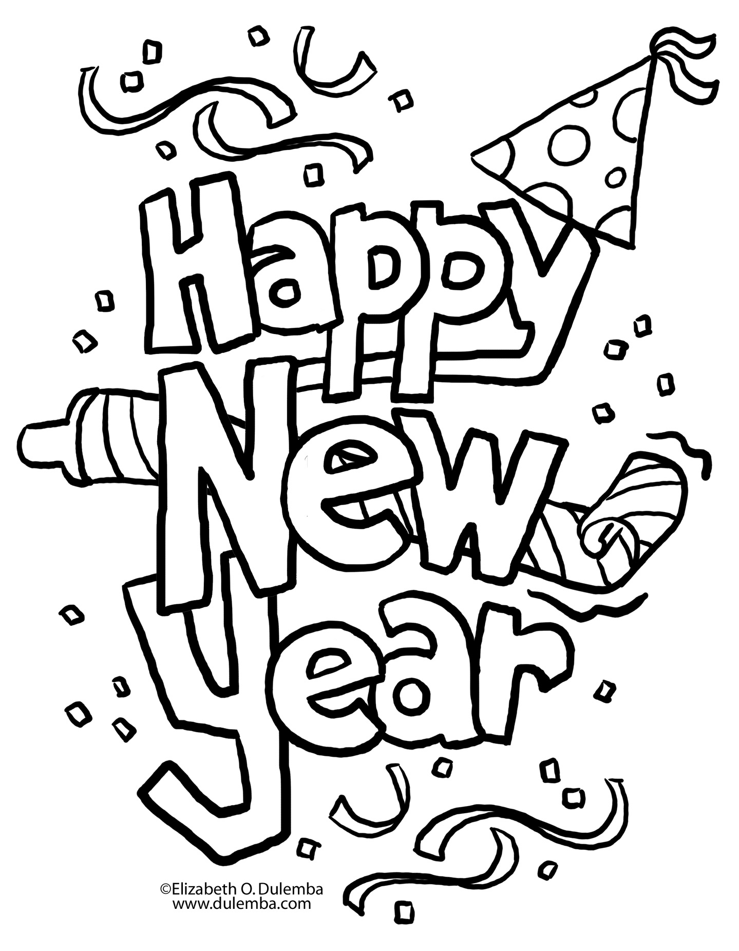 new years eve coloring pages - photo#3