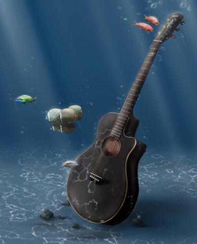 guitar in water image